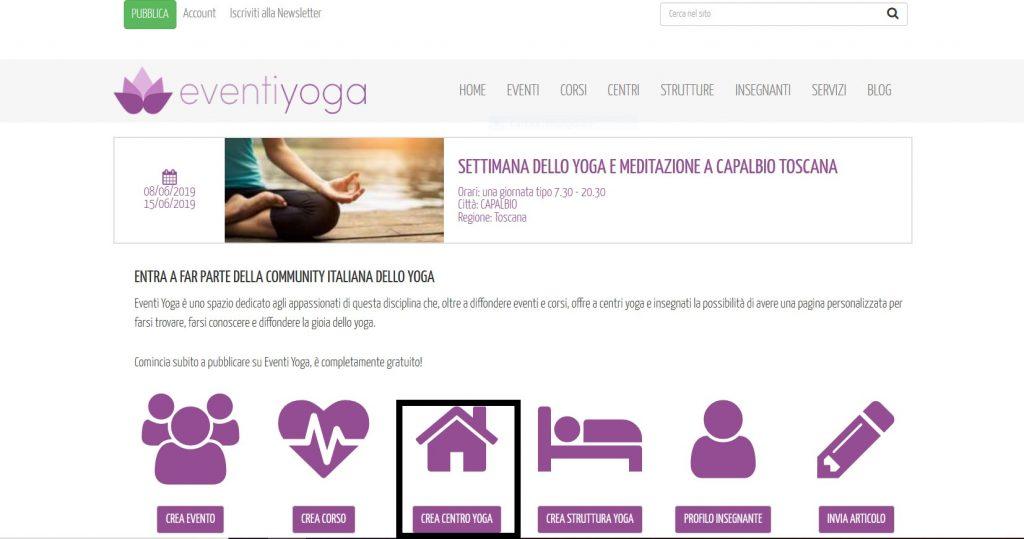 Step 2 bis clicca sull'icona Crea centro yoga