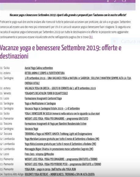 Calendario eventi mese per mese portale EventiYoga