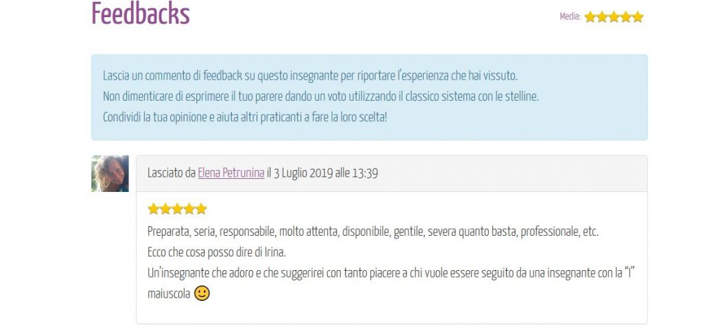 Feedback portale EventiYoga